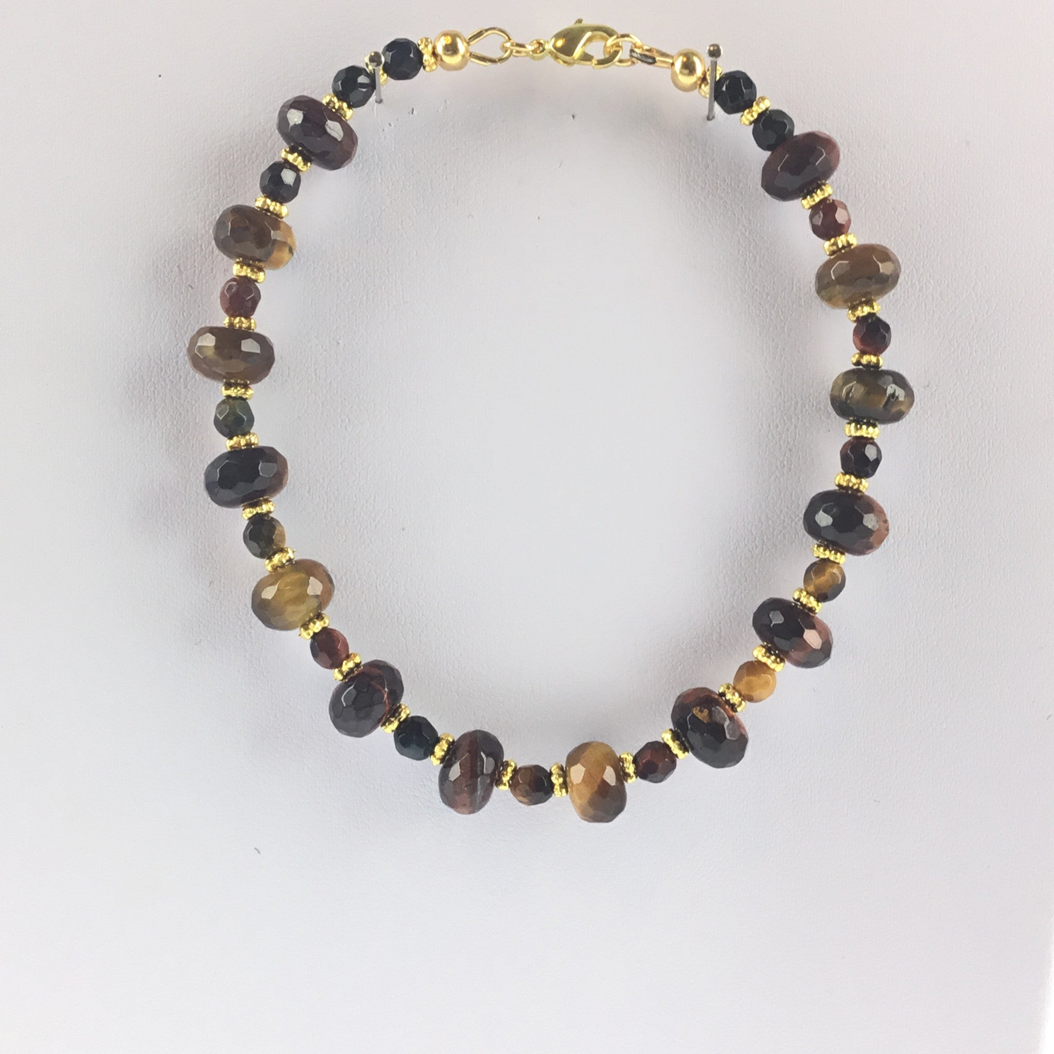 Tiger-Eye Roundelle and Gold Bracelet with Lobster Clasp - Real Chic Boutique  - 2