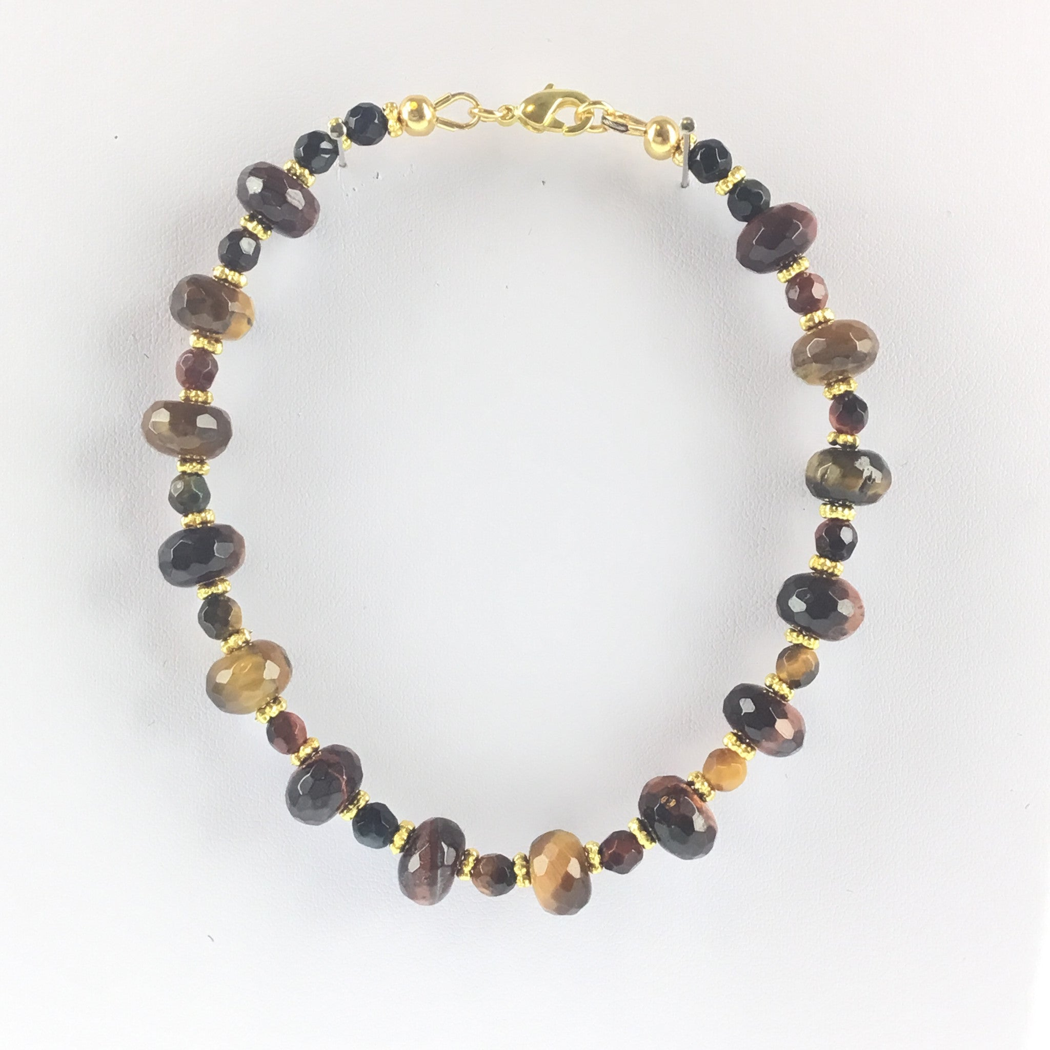 Tiger-Eye Roundelle and Gold Bracelet with Lobster Clasp - Real Chic Boutique  - 3