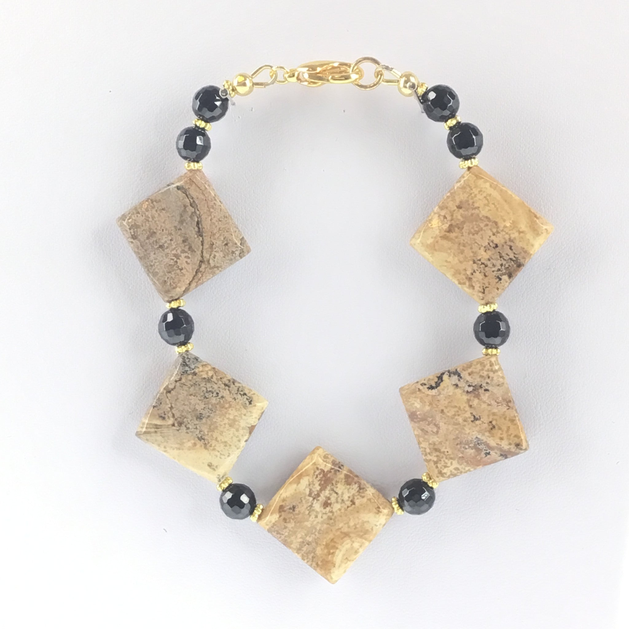Picture Jasper and Black Spinel Bracelet - Real Chic Boutique  - 3