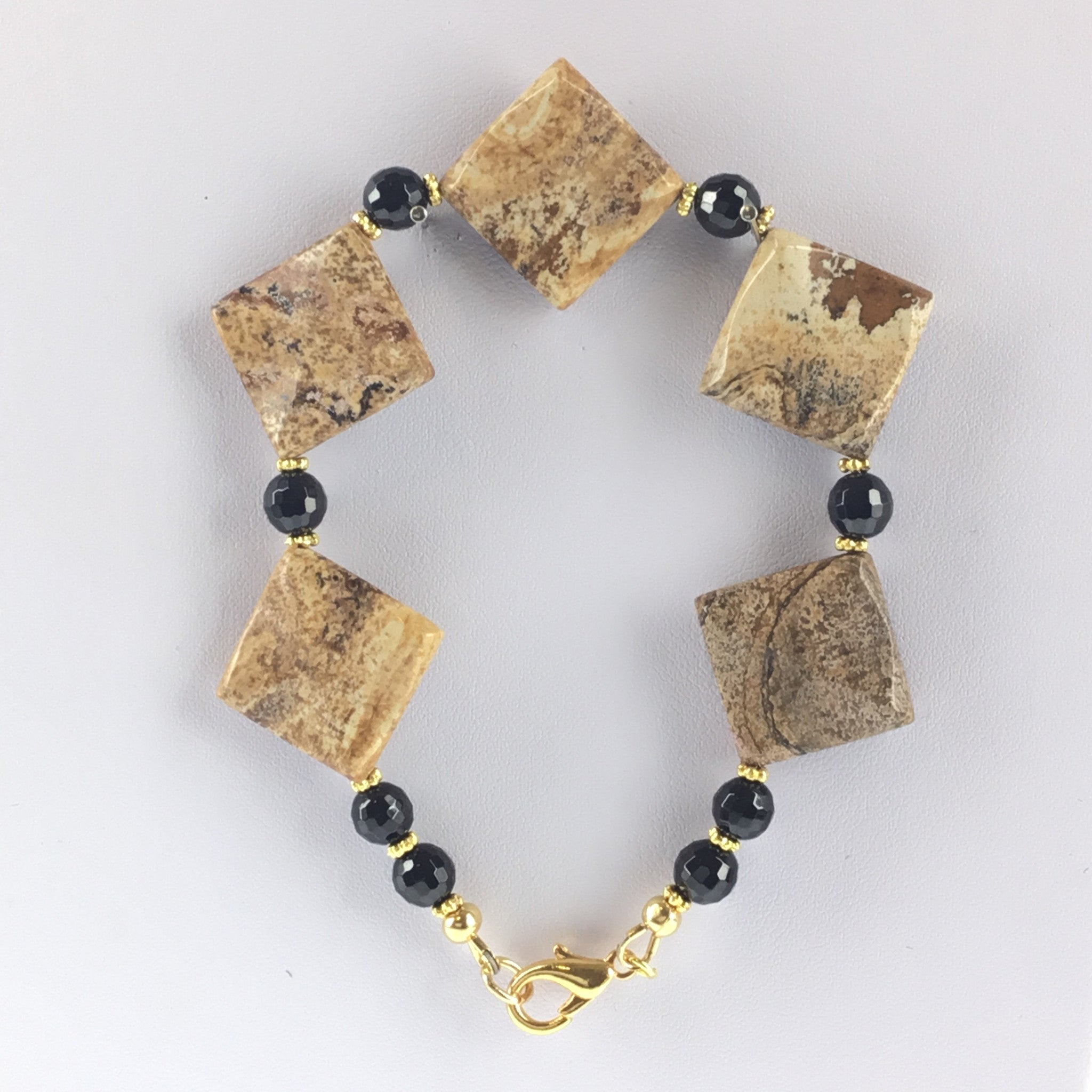Picture Jasper and Black Spinel Bracelet - Real Chic Boutique  - 4