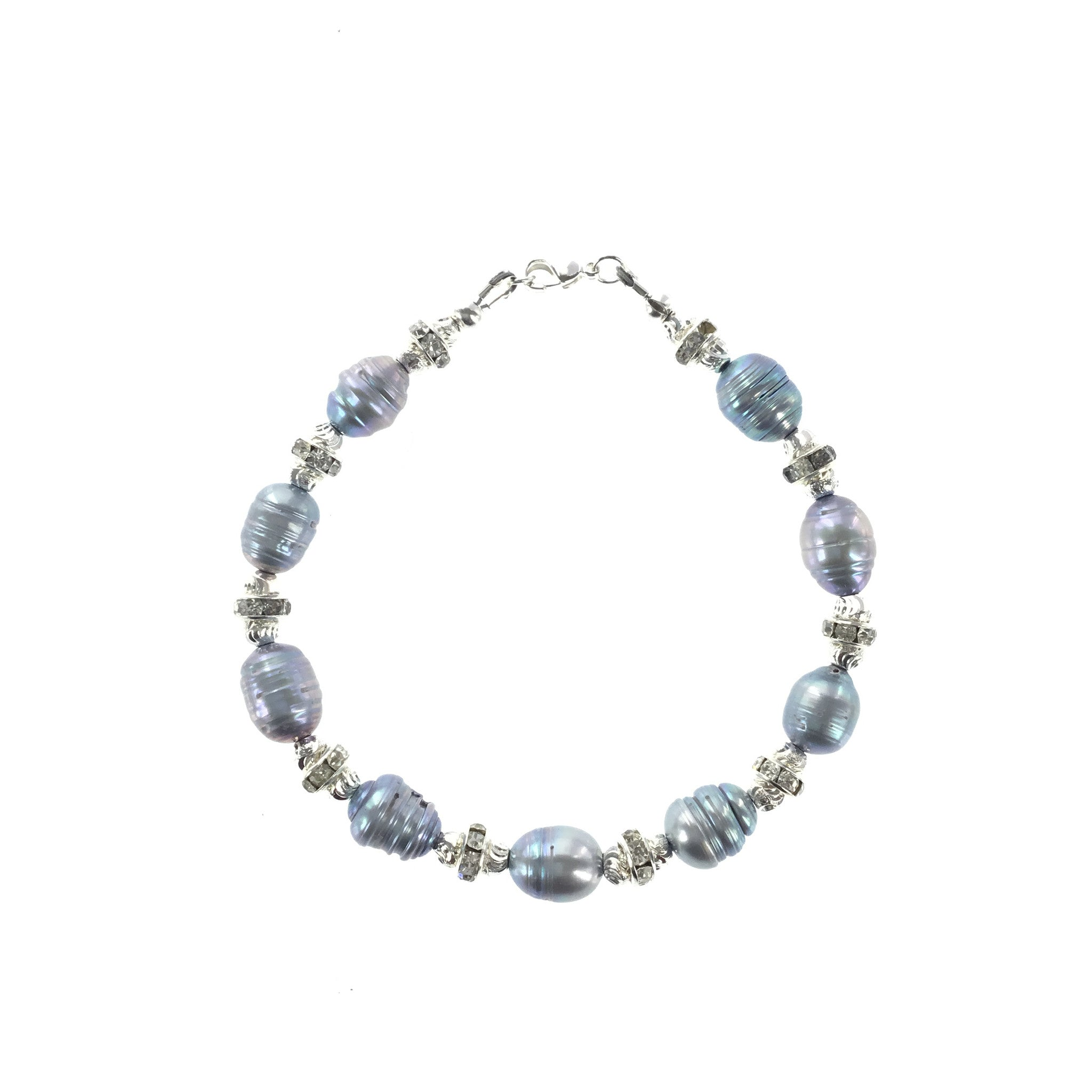 Silver-blue Freshwater Pearl and CZ Bracelet - Real Chic Boutique  - 1
