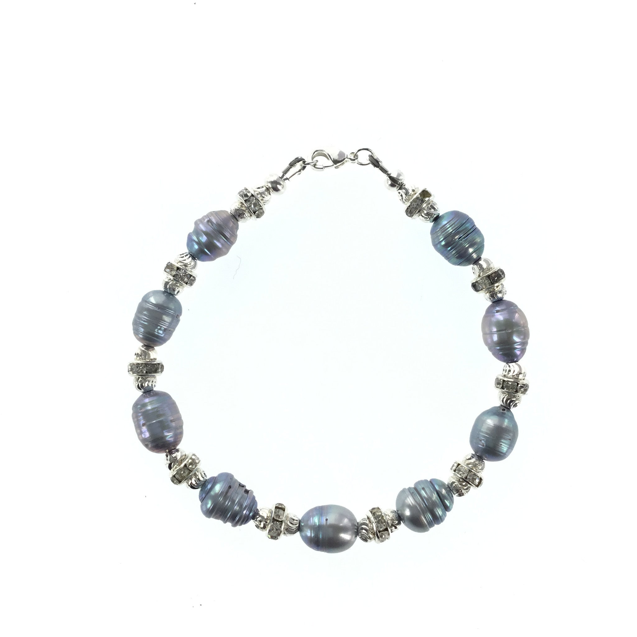 Silver-blue Freshwater Pearl and CZ Bracelet - Real Chic Boutique  - 2