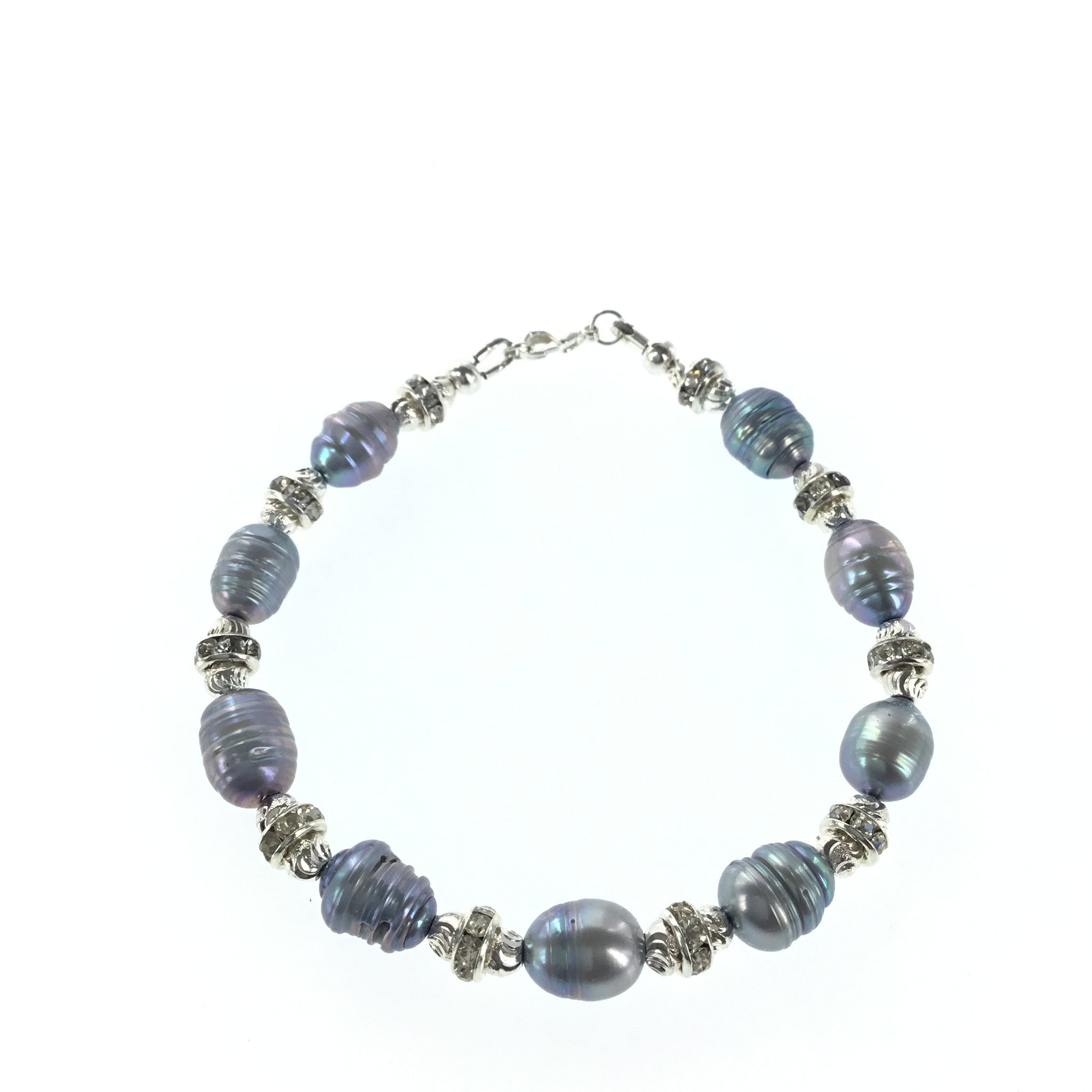 Silver-blue Freshwater Pearl and CZ Bracelet - Real Chic Boutique  - 3