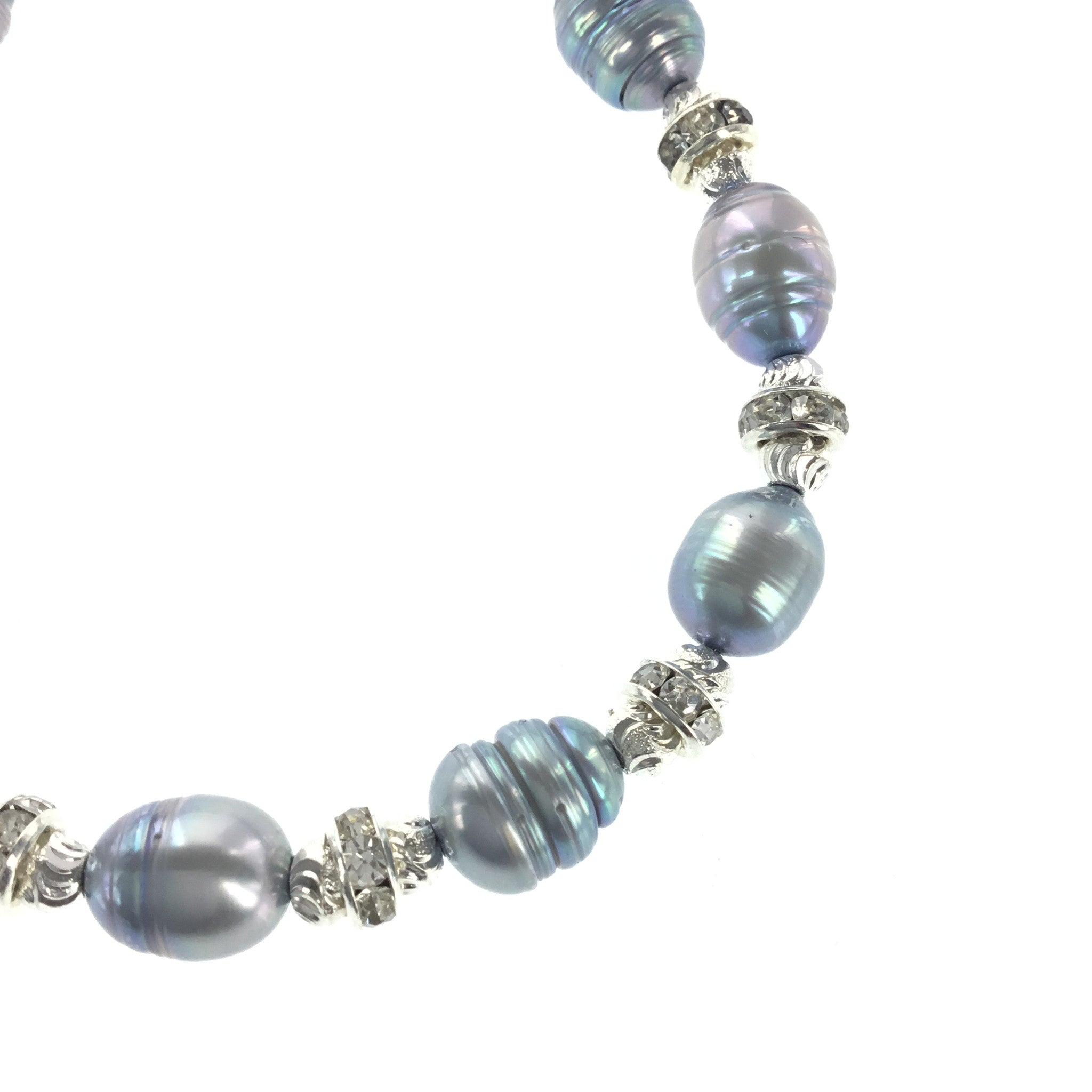 Silver-blue Freshwater Pearl and CZ Bracelet - Real Chic Boutique  - 4