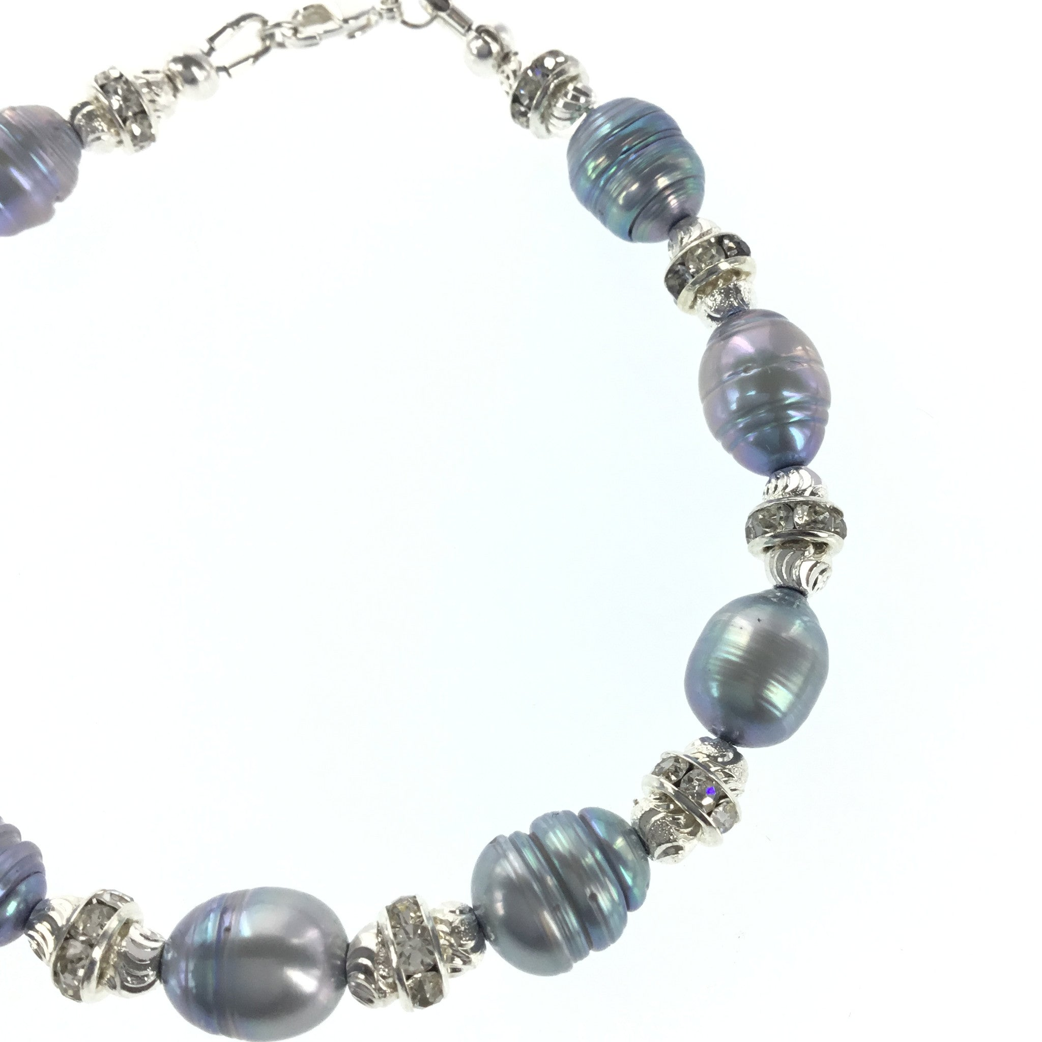 Silver-blue Freshwater Pearl and CZ Bracelet - Real Chic Boutique  - 5