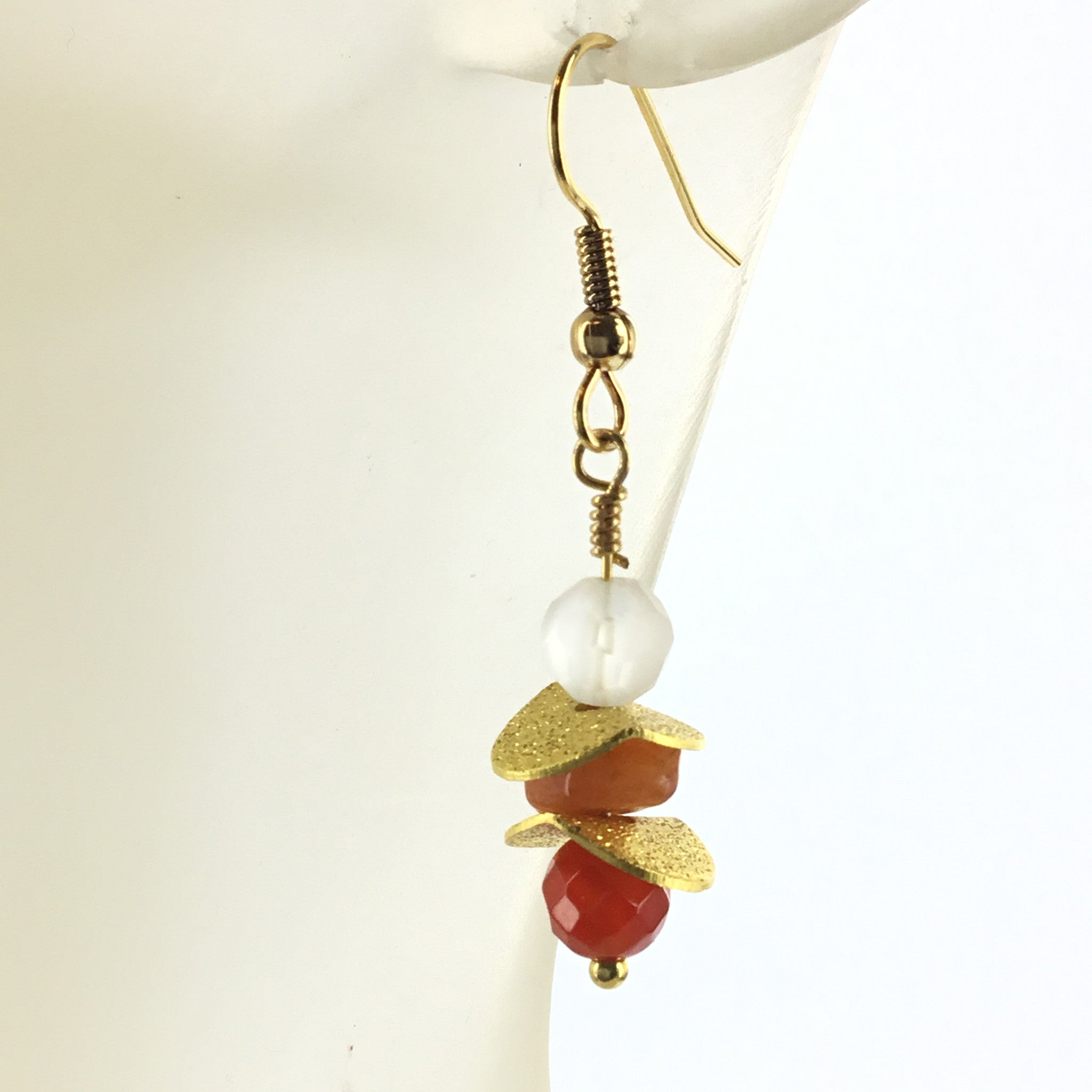 Fire Agate and Carnelian Drop Earring - Real Chic Boutique  - 1