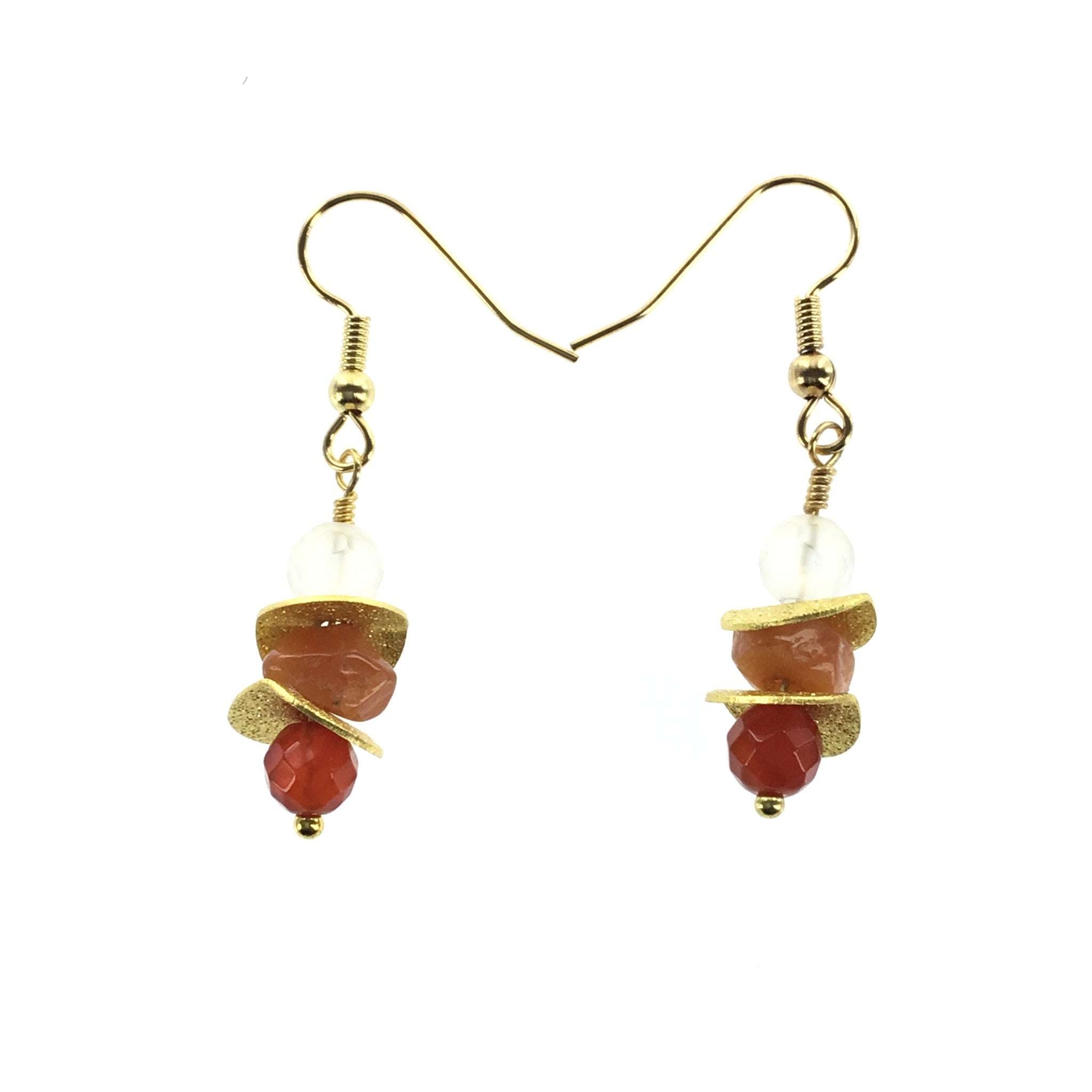 Fire Agate and Carnelian Drop Earring - Real Chic Boutique  - 2