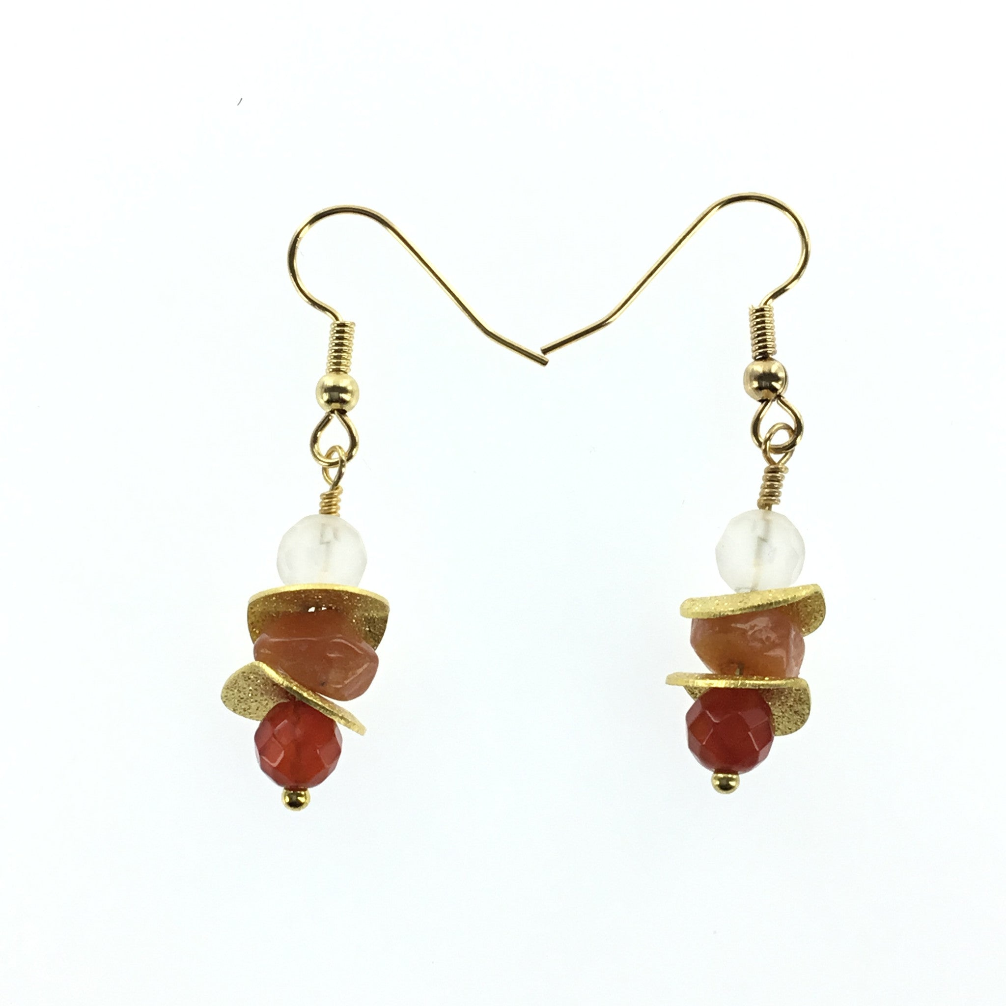 Fire Agate and Carnelian Drop Earring - Real Chic Boutique  - 3