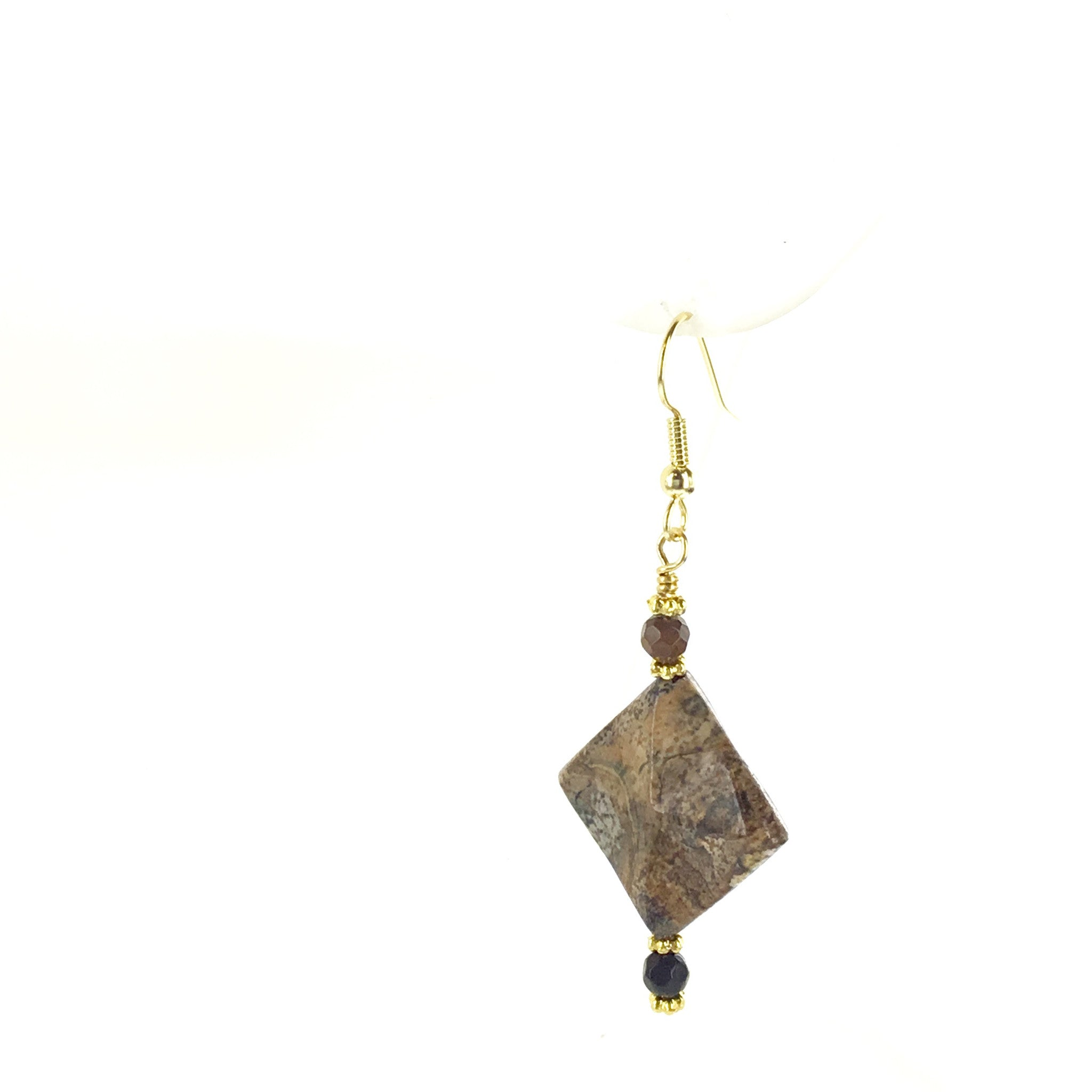 Picture Jasper and Tiger-Eye Earring - Real Chic Boutique  - 1