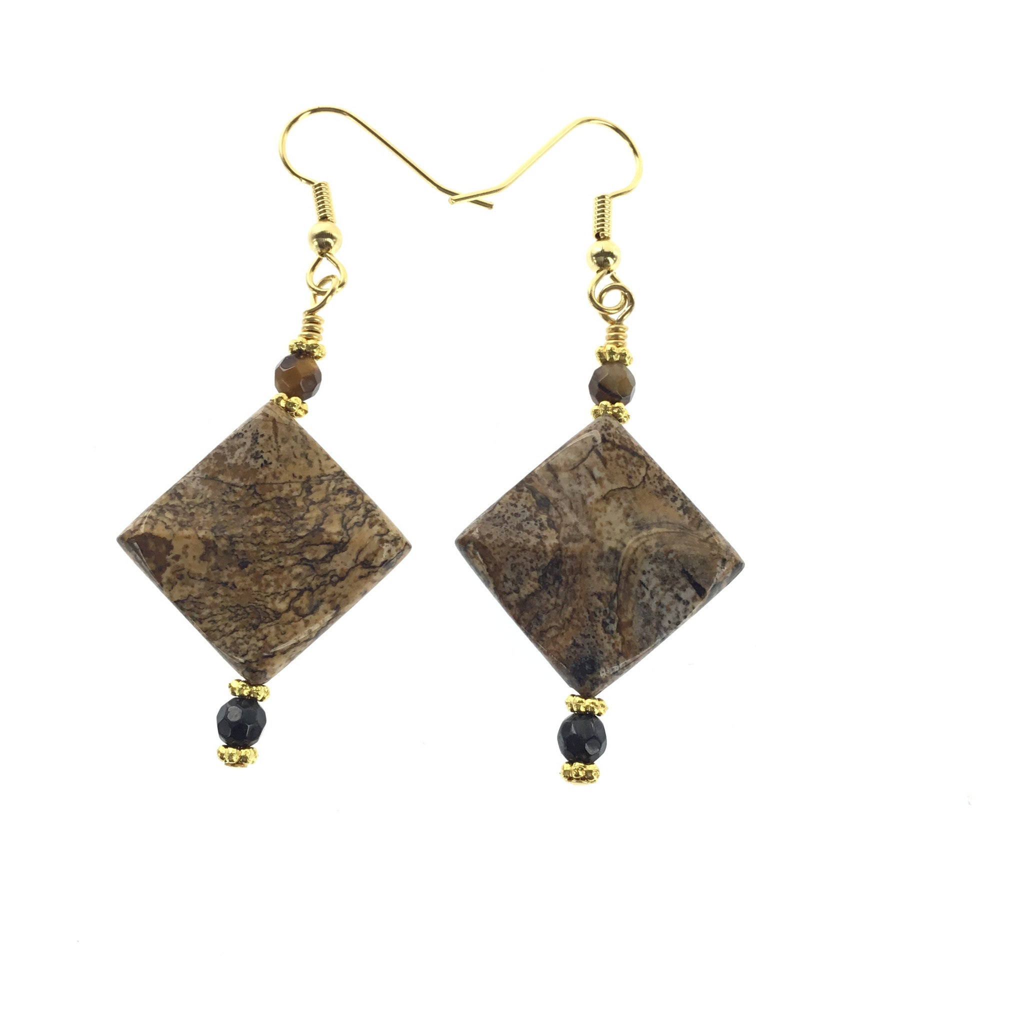 Picture Jasper and Tiger-Eye Earring - Real Chic Boutique  - 3