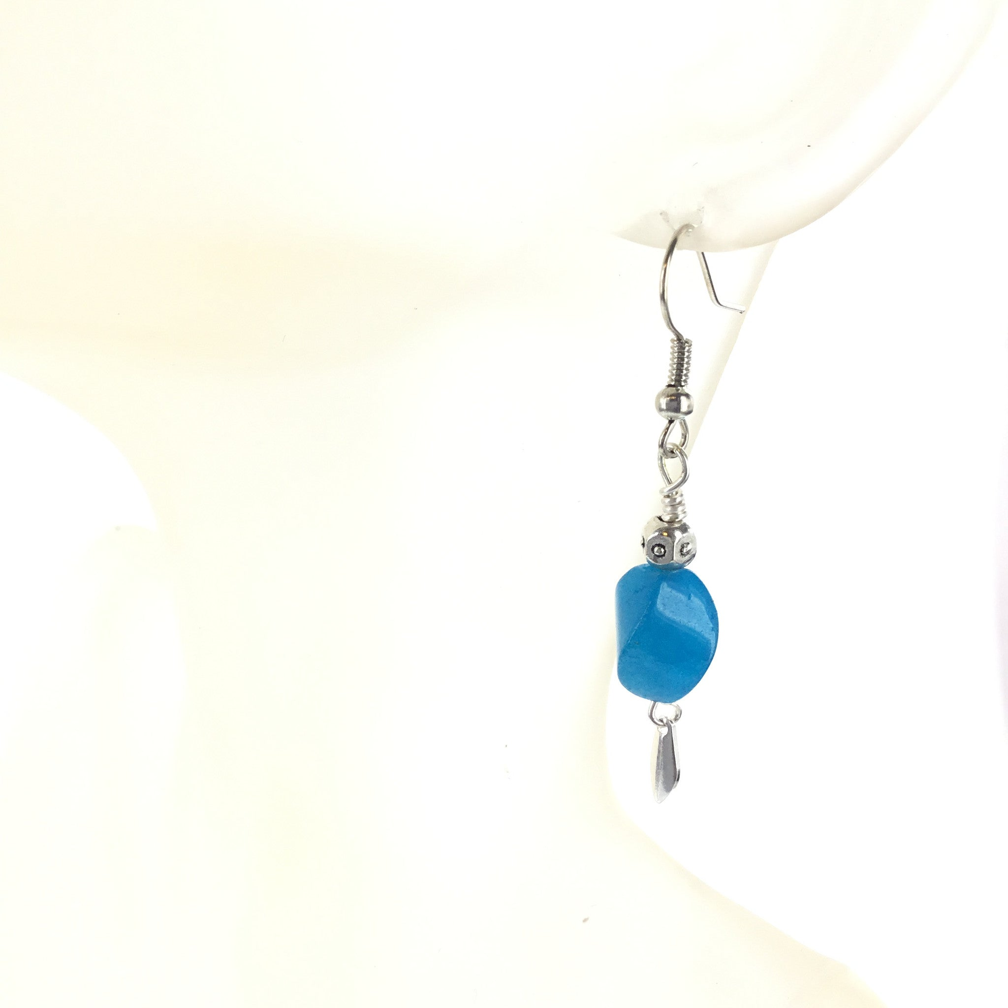 Blue Agate and Silver Drop Earring - Real Chic Boutique  - 4