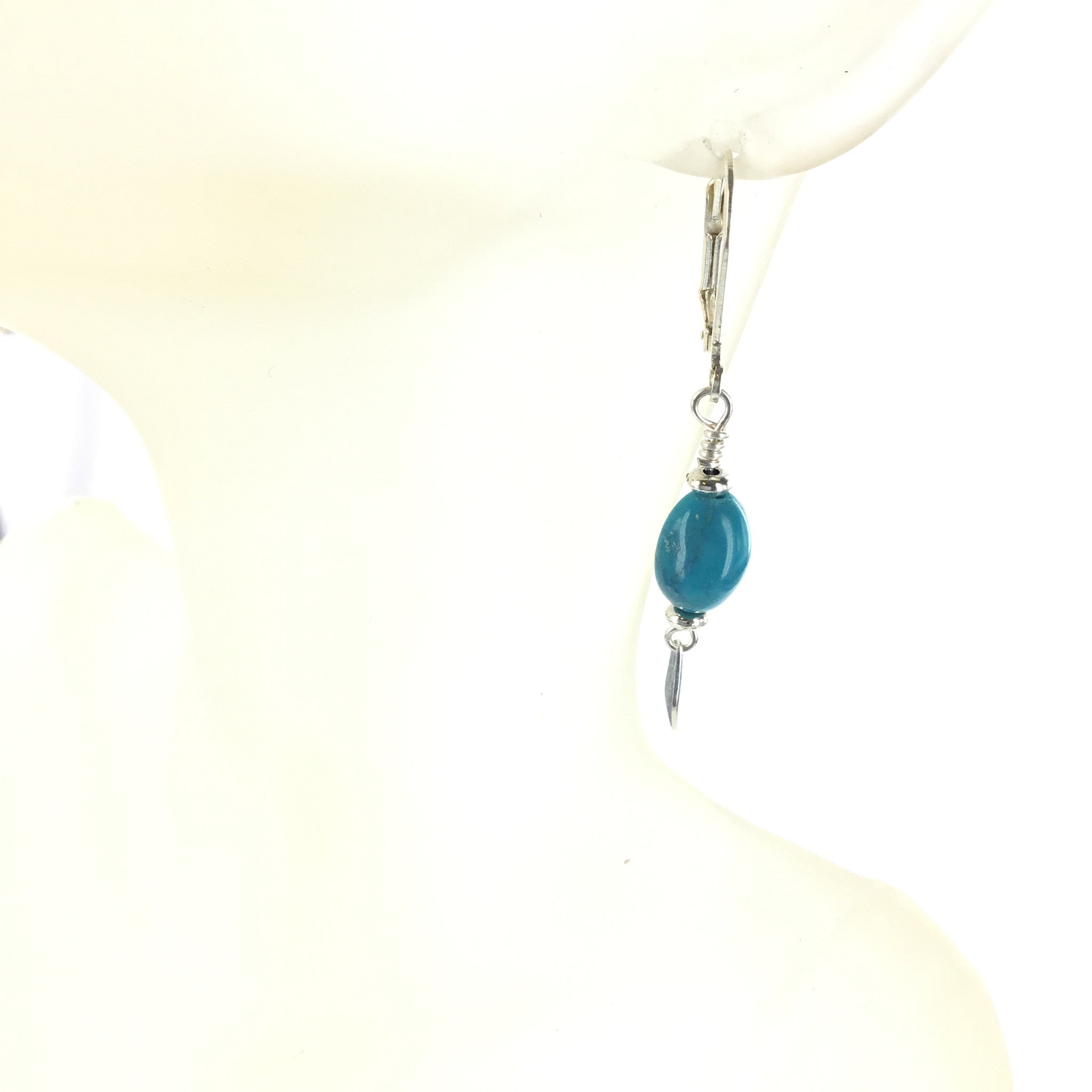 Blue Agate and Silver Drop Earring - Real Chic Boutique  - 1