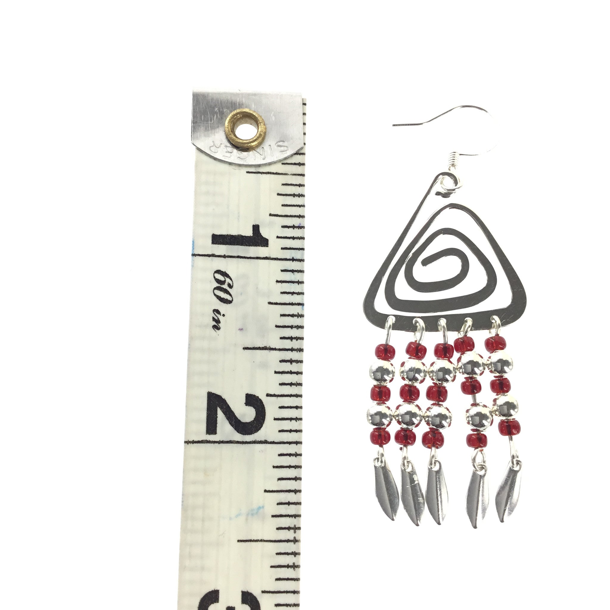 Red and Silver Triangle Dangle Earring - Real Chic Boutique  - 3