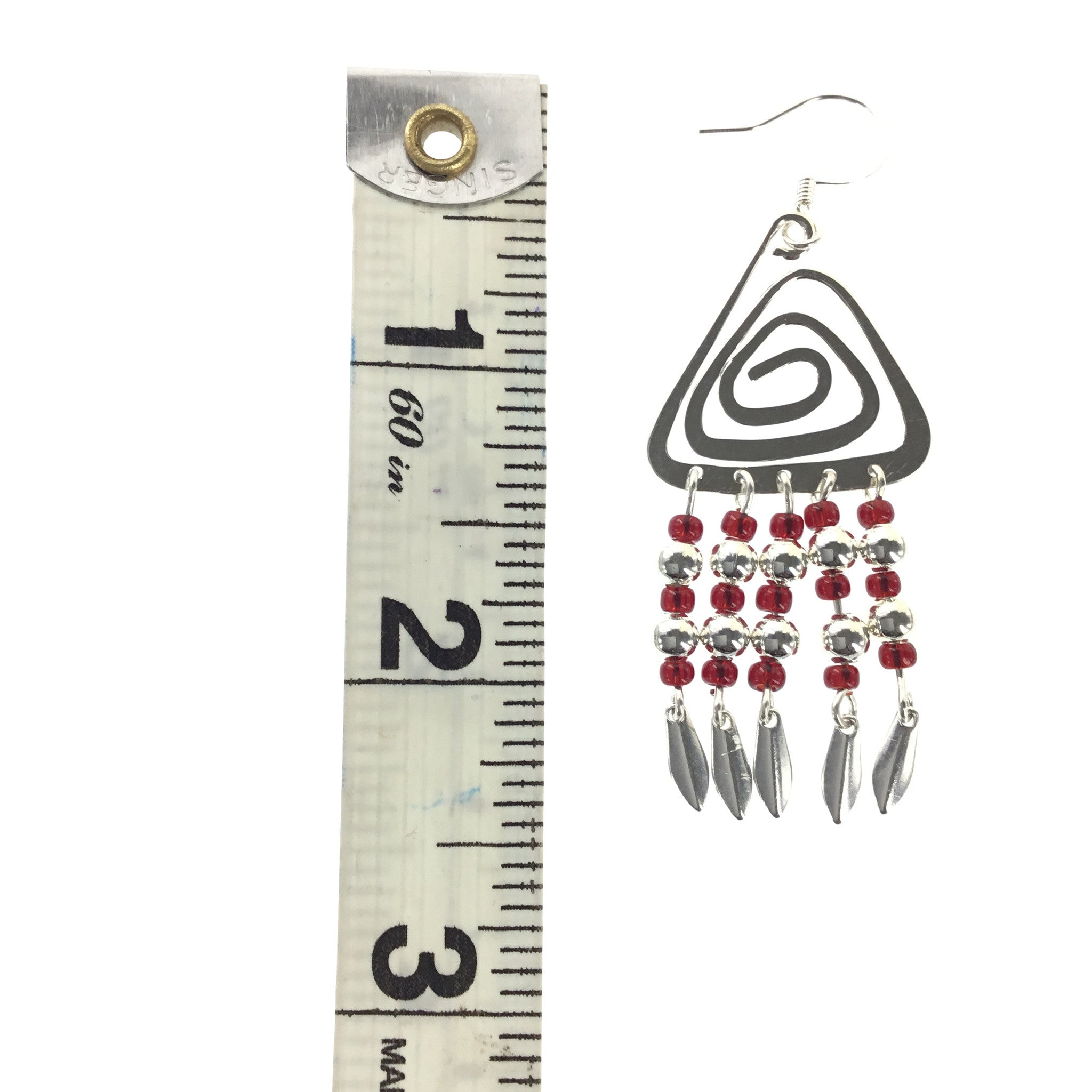 Red and Silver Triangle Dangle Earring - Real Chic Boutique  - 4