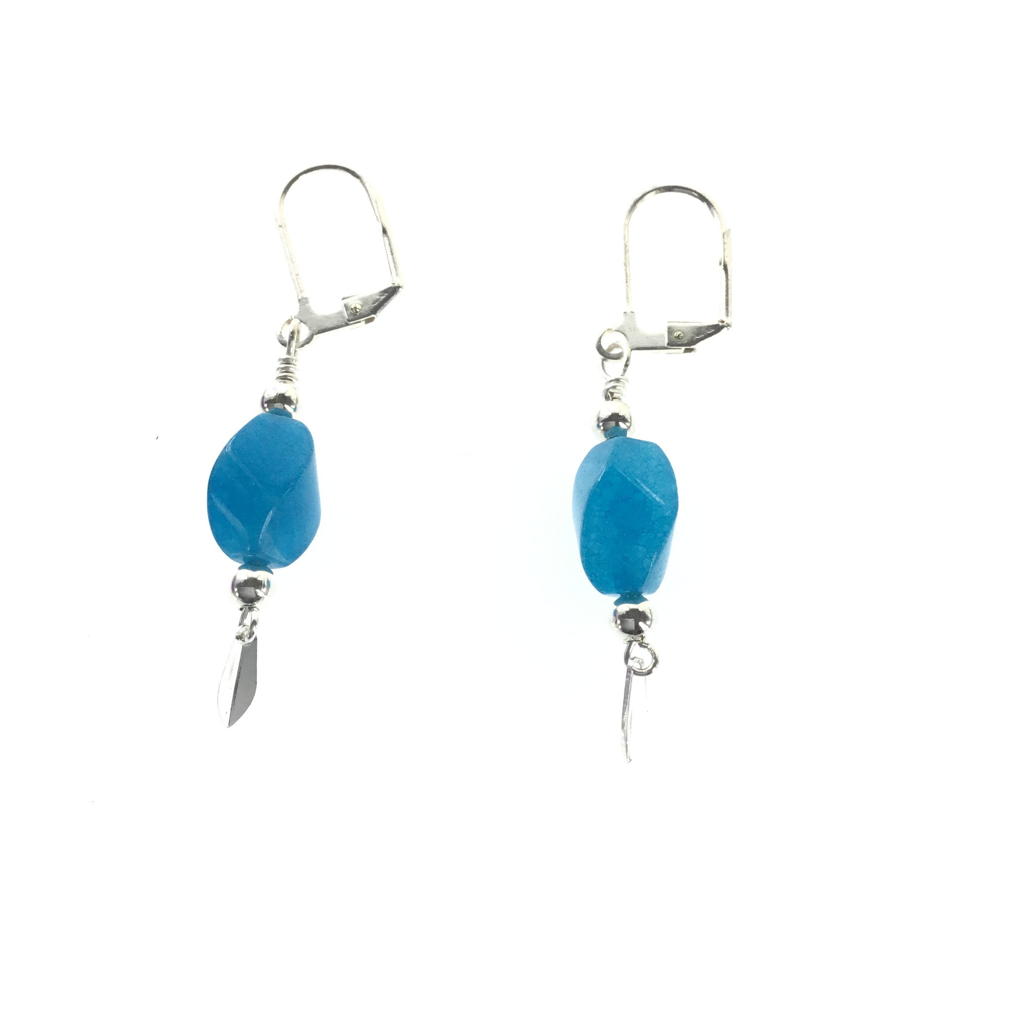 Blue Agate and Silver Drop Earring - Real Chic Boutique  - 2