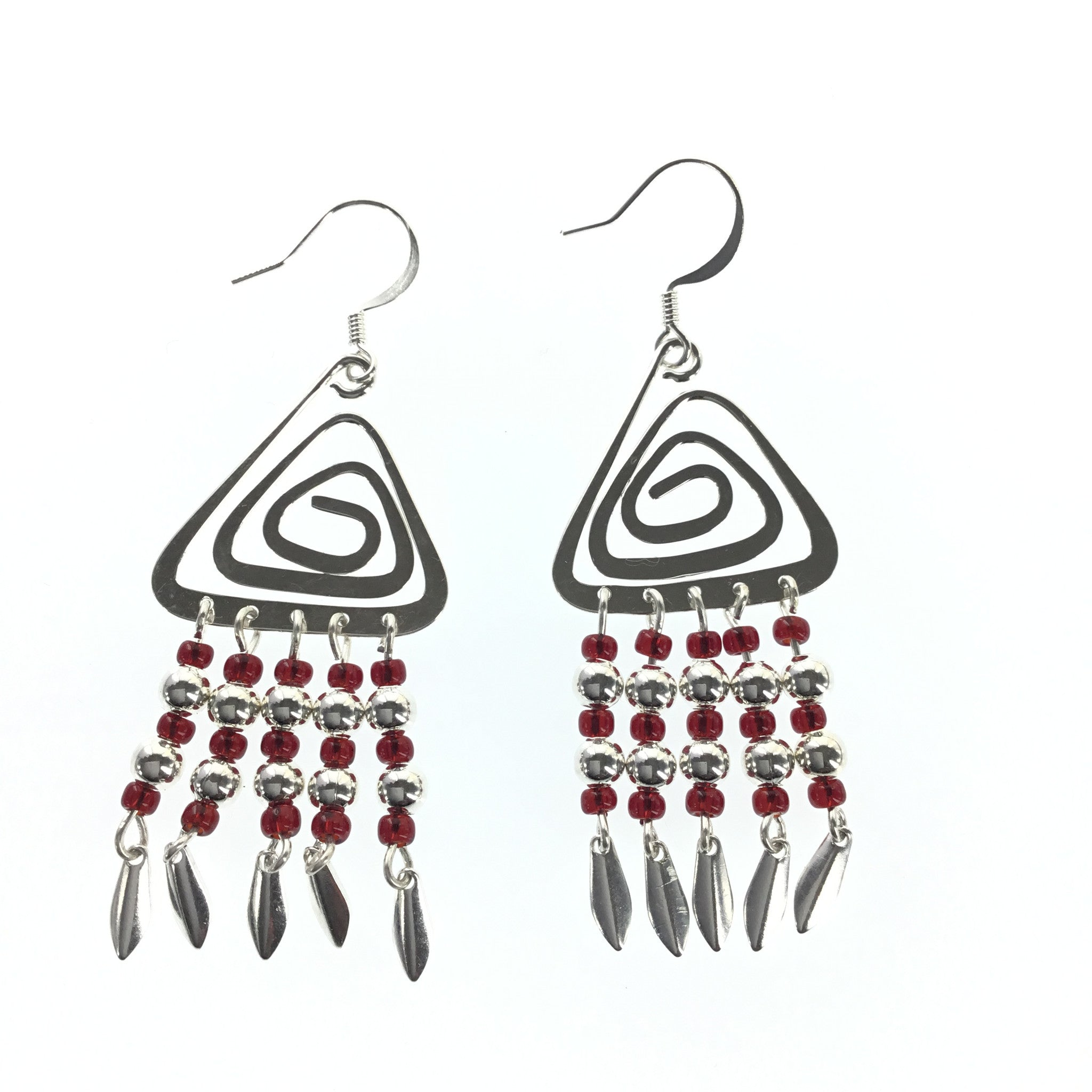Red and Silver Triangle Dangle Earring - Real Chic Boutique  - 2