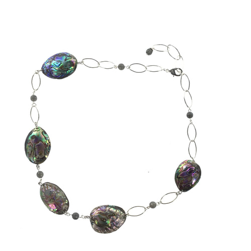 Abalone and Labradorite Necklace - Real Chic Boutique  - 1