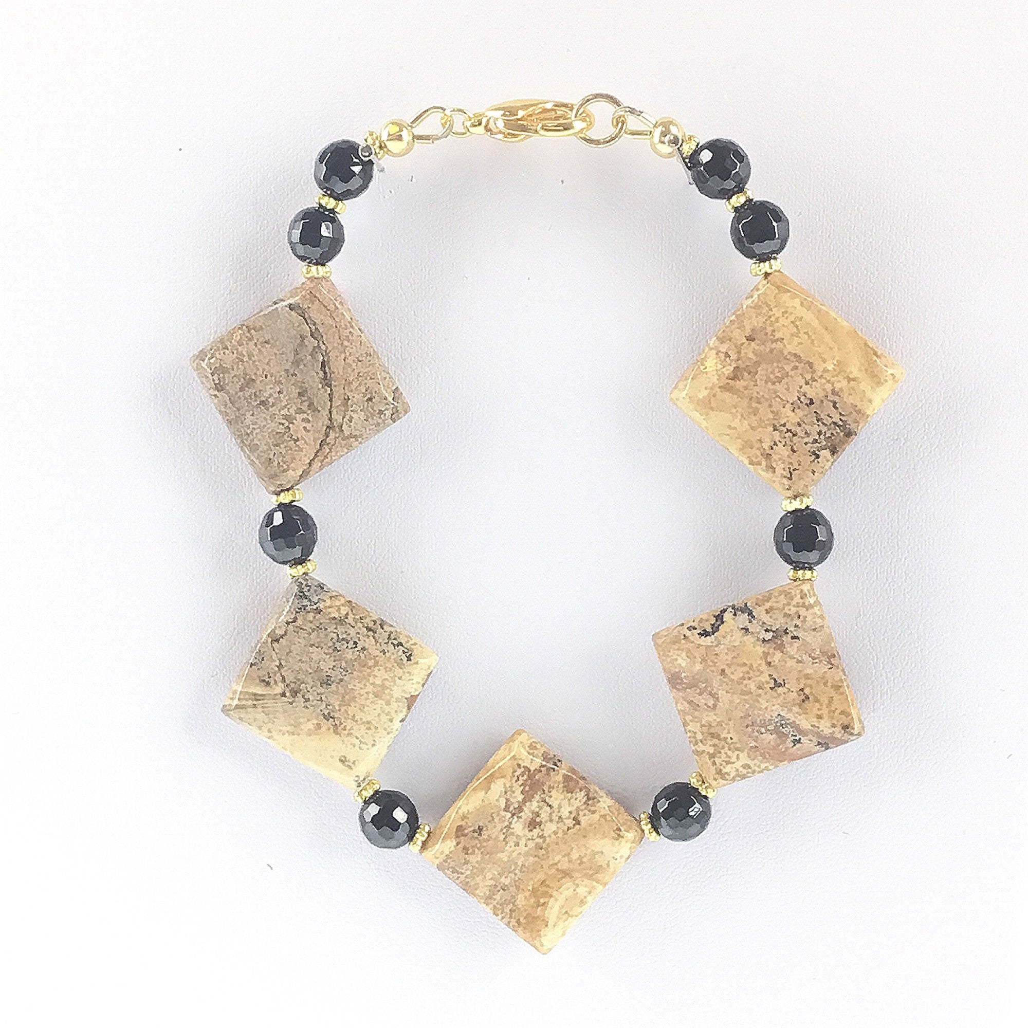 Picture Jasper and Black Spinel Bracelet - Real Chic Boutique  - 1
