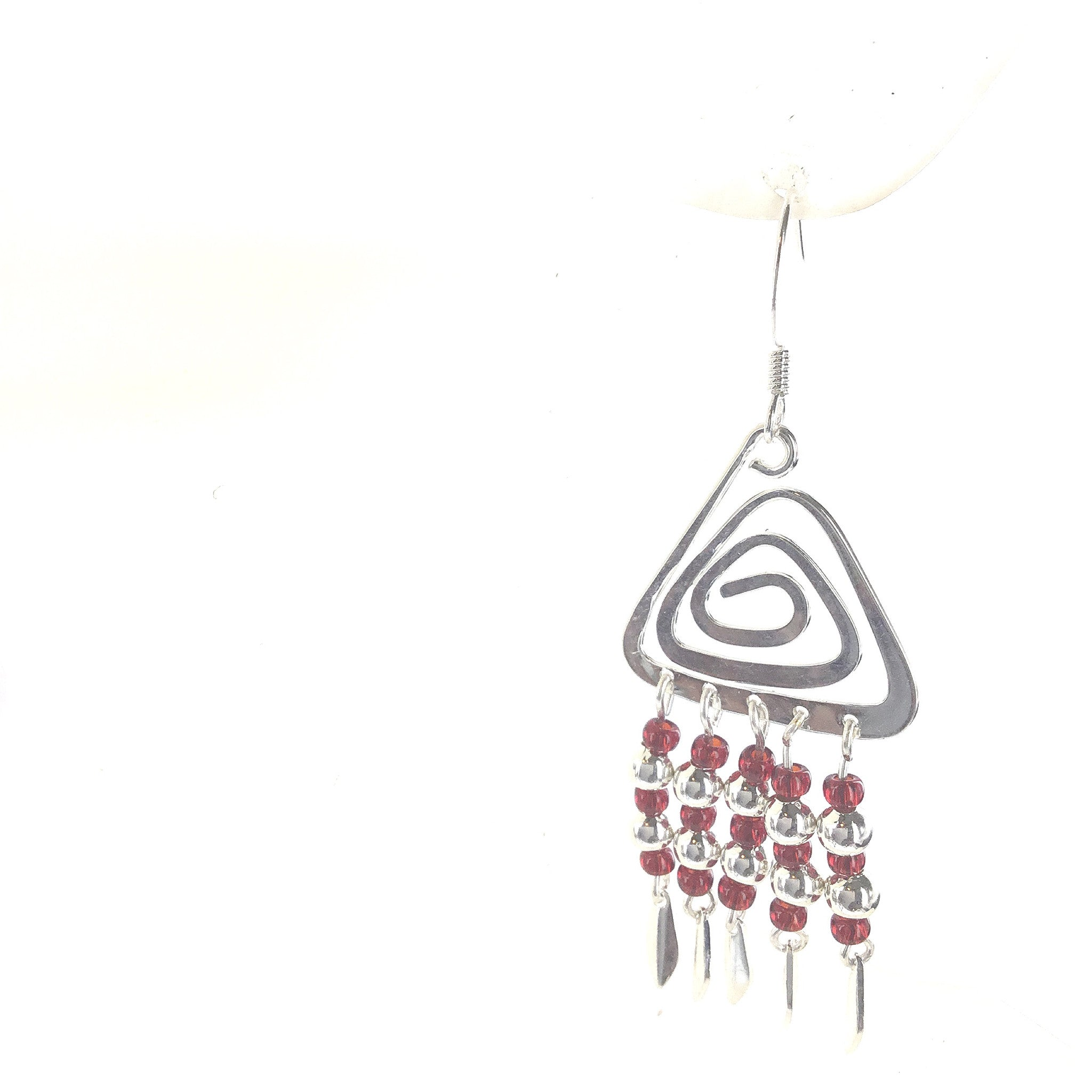 Red and Silver Triangle Dangle Earring - Real Chic Boutique  - 1
