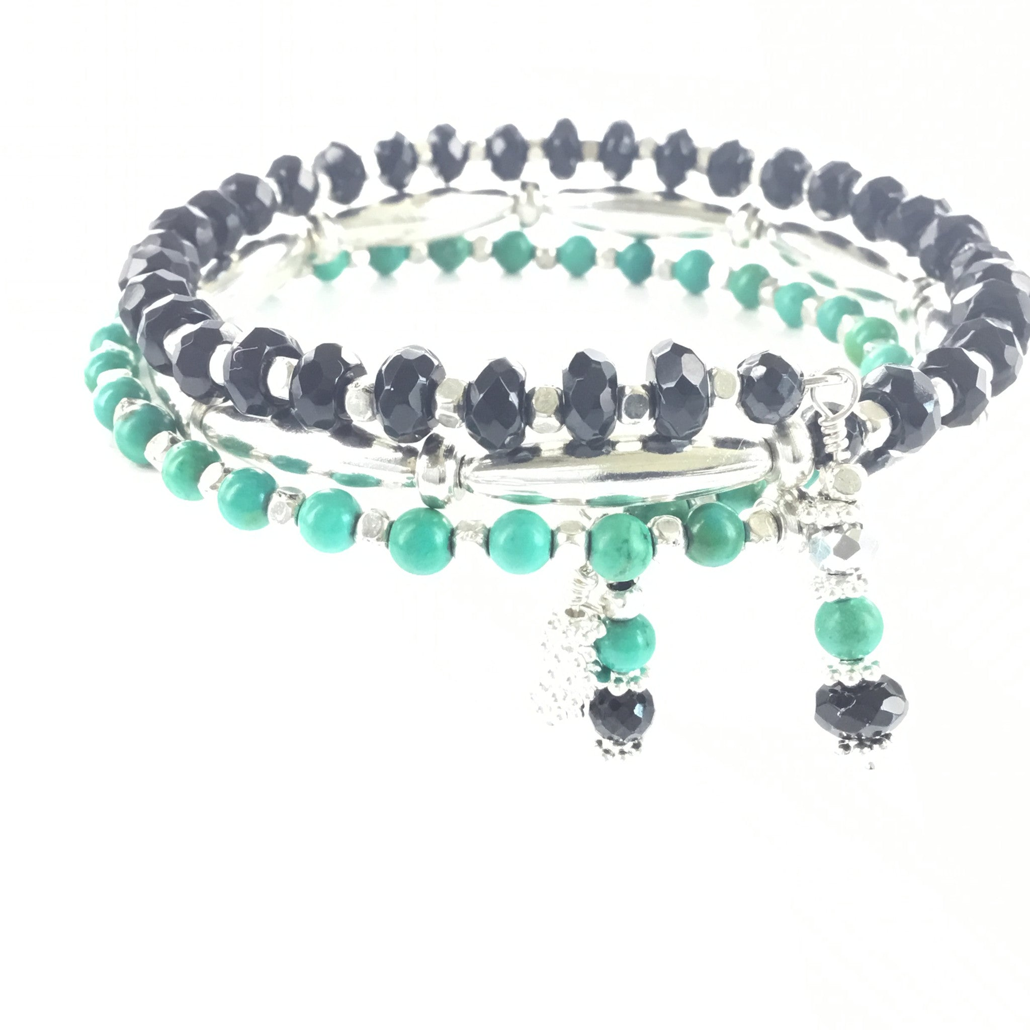 Turquoise and Black Onyx Wrap Bracelet