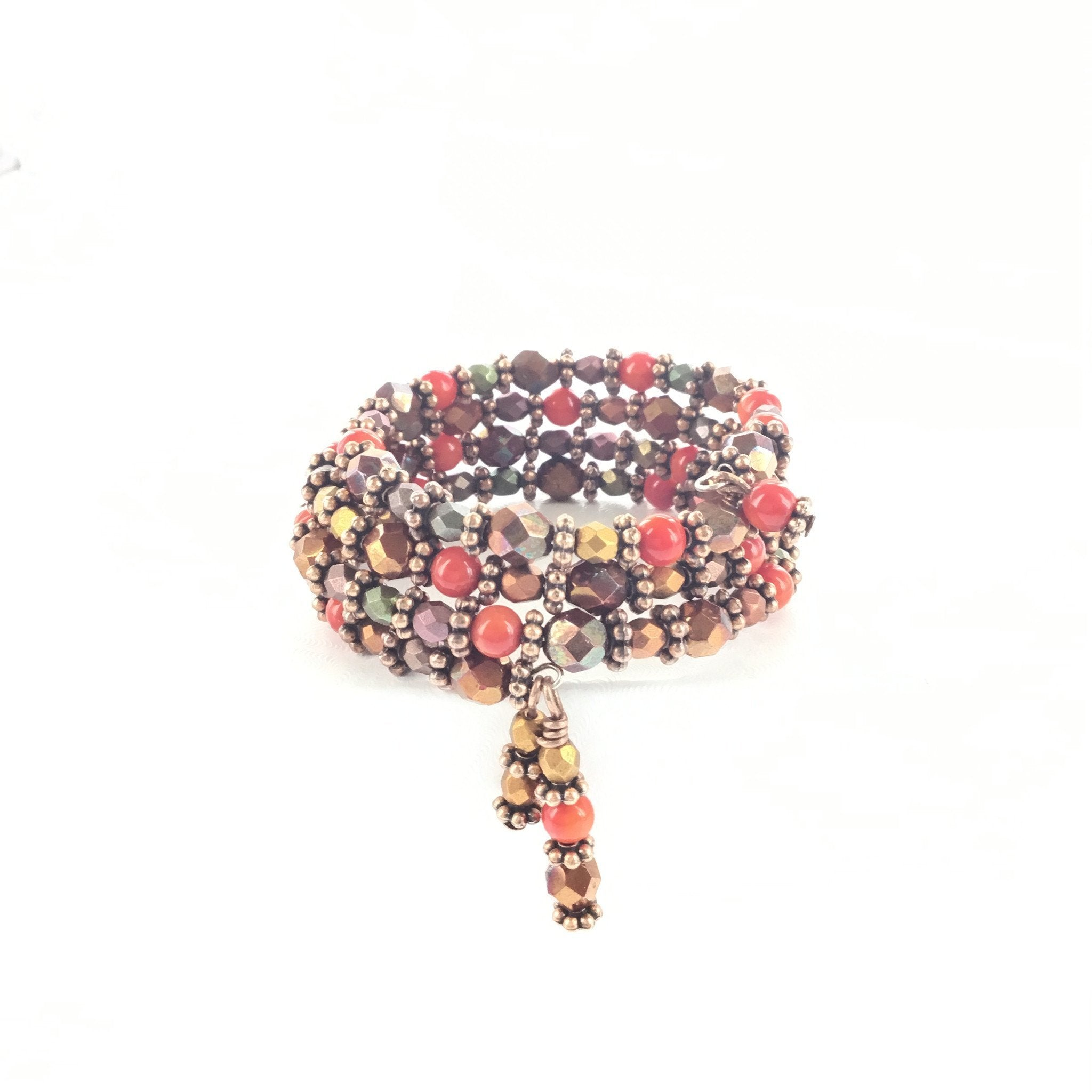 Coral and Bronze Wrap Bracelet
