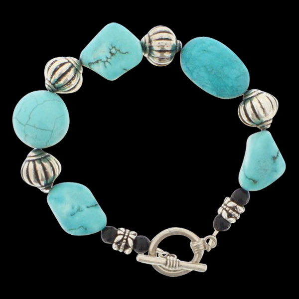 Turquoise and Black Agate Bracelet - Real Chic Boutique  - 2