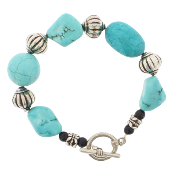 Turquoise and Black Agate Bracelet - Real Chic Boutique  - 1