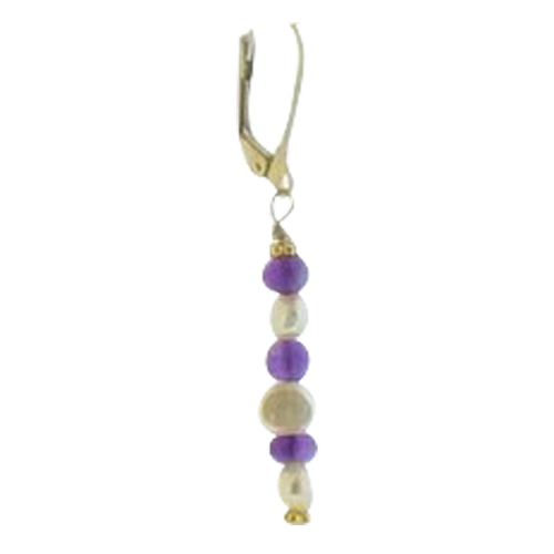 Fresh Water Pearl and Amethyst Earring - Real Chic Boutique  - 1