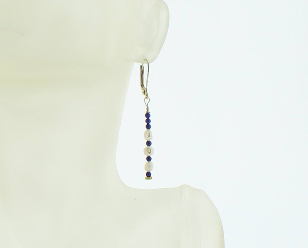 Fresh Water Pearl and Lapis Earring - Real Chic Boutique  - 3