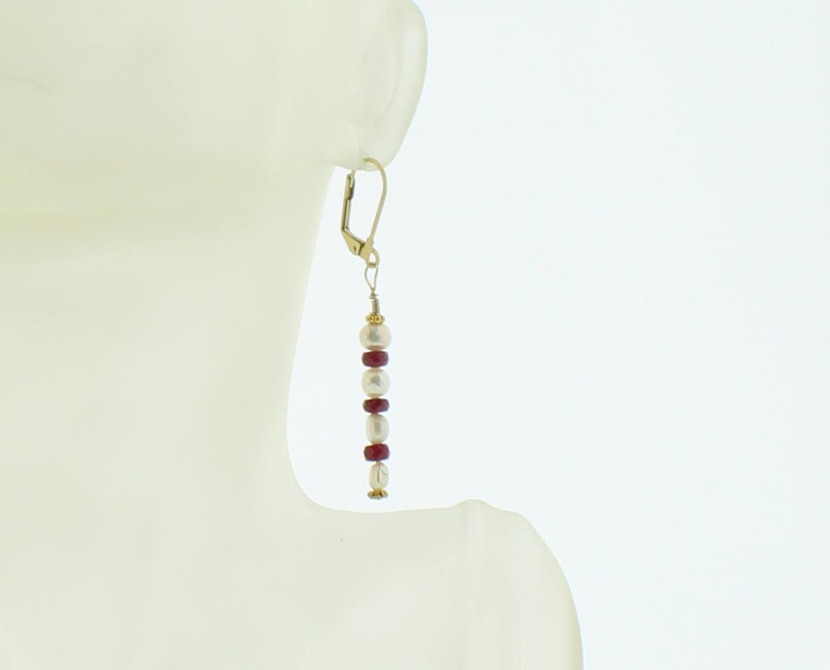 Fresh Water Pearl and Ruby Earring - Real Chic Boutique  - 2
