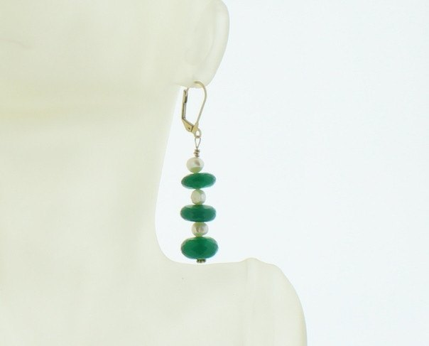 Green Onyx and Pearl Earring - Real Chic Boutique  - 3