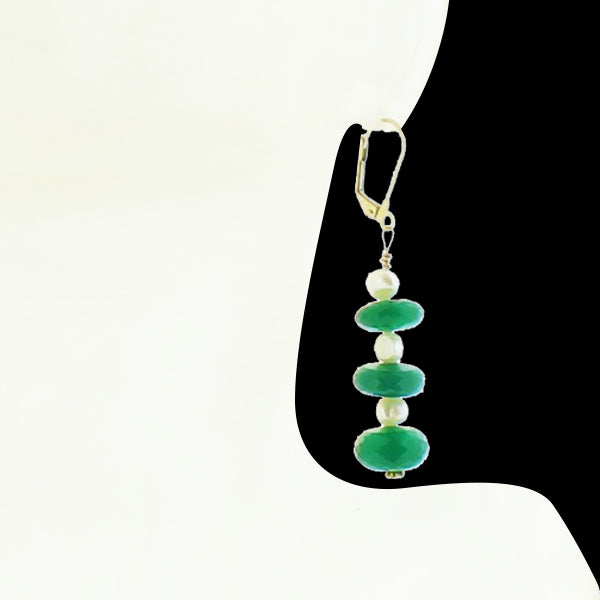 Green Onyx and Pearl Earring - Real Chic Boutique  - 2
