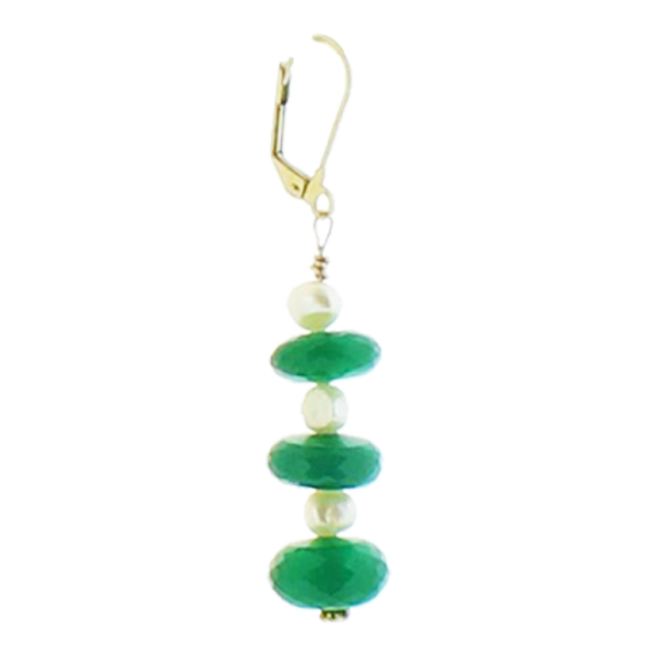 Green Onyx and Pearl Earring - Real Chic Boutique  - 1
