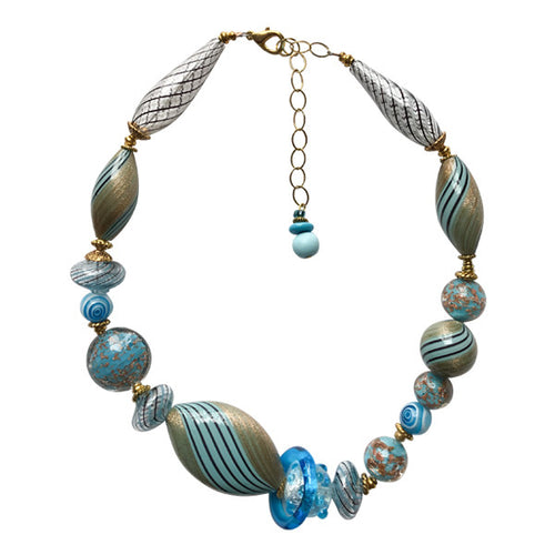 Teal Murano Glass Necklace - Real Chic Boutique  - 1