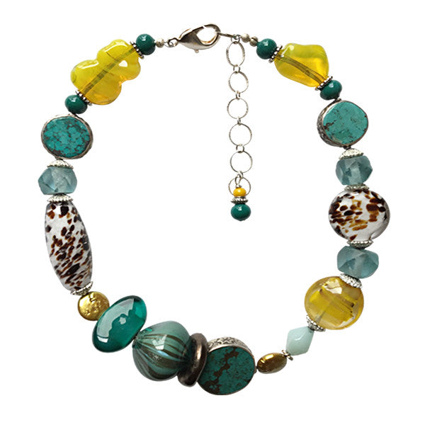 Murano Glass Necklace with Turquoise - Real Chic Boutique  - 1