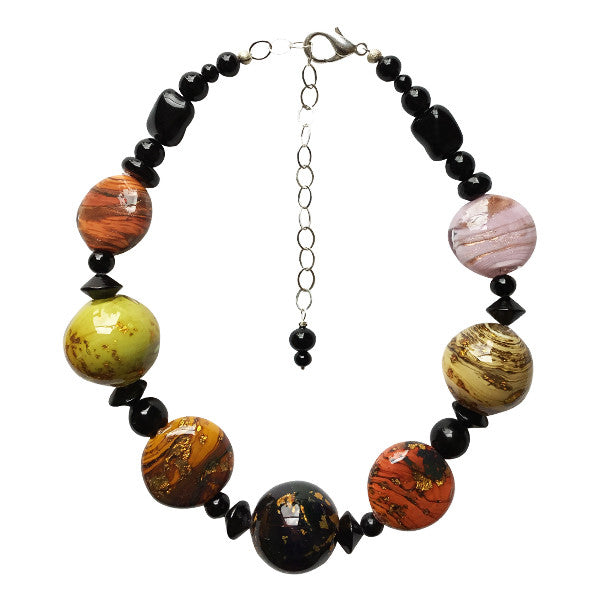 Murano Glass Necklace in Earthtones - Real Chic Boutique  - 1