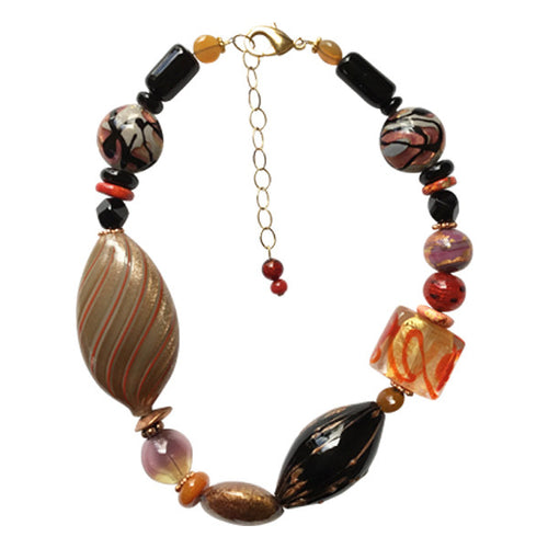 Tones of beige orange and black Murano Glass Necklace - Real Chic Boutique  - 1