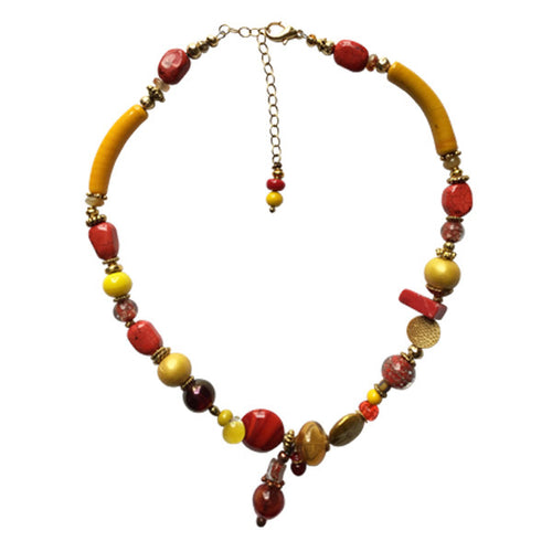 Orange and Yellow Murano Glass Necklace - Real Chic Boutique  - 1