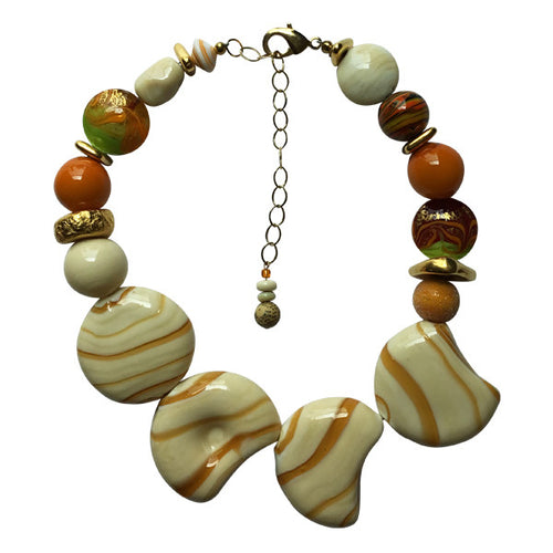 Muted Gold & Ivory Murano Glass Necklace - Real Chic Boutique  - 1