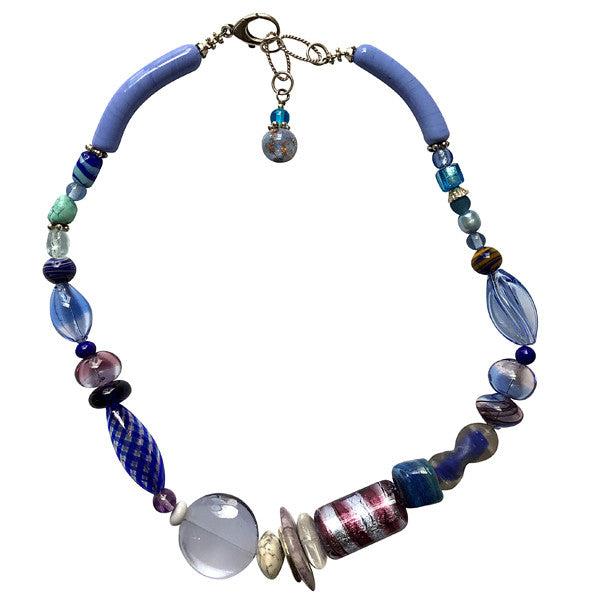 Murano Glass Necklace in Hues of Blue - Real Chic Boutique  - 1