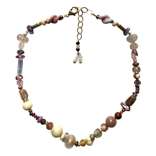 Petite Pink Pastel and White Murano Glass Necklace - Real Chic Boutique  - 1