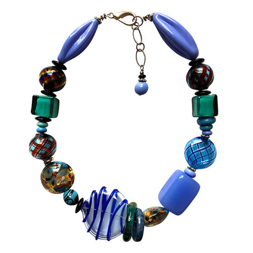 Shades of Blue Murano Glass Necklace - Real Chic Boutique  - 1