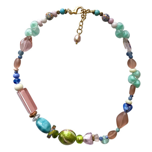 Pastel Green Pink and Blue Murano Glass Necklace - Real Chic Boutique  - 1
