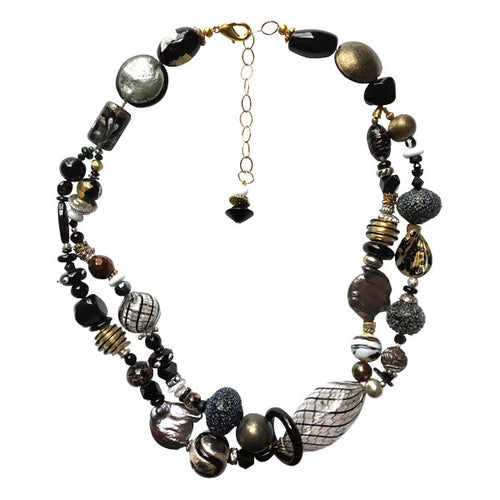Neutral black & brown Murano Glass Necklace - Real Chic Boutique  - 1