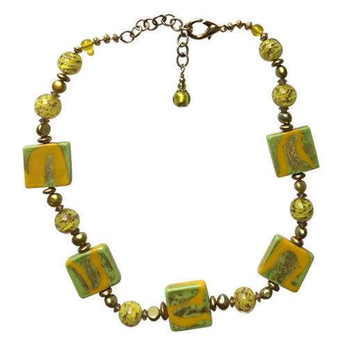 Yellow and Chartreuse Murano Glass Necklace - Real Chic Boutique  - 1