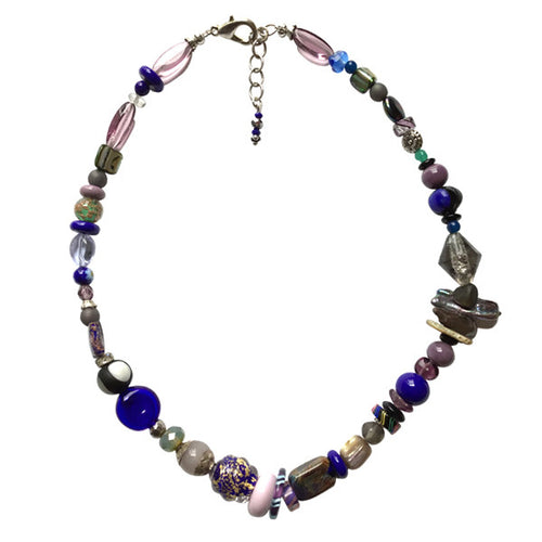 Royal Blue and Pink Pastel Murano Glass Necklace - Real Chic Boutique  - 1