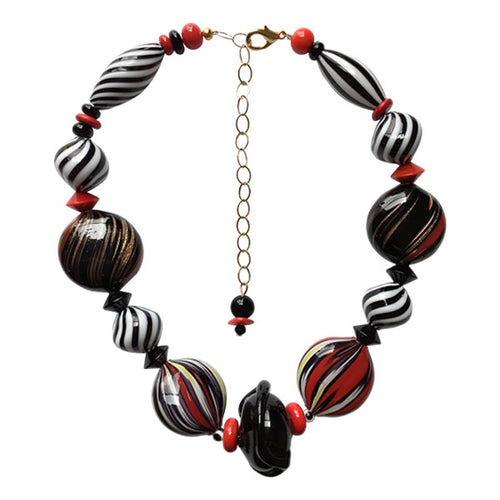 Black and White Stripe Murano Glass Necklace - Real Chic Boutique  - 1