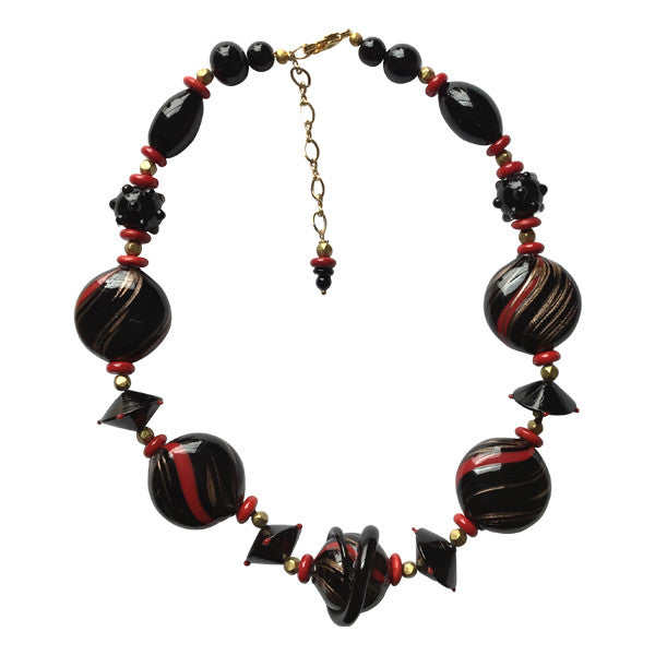 1a954e720aa8 Handcrafted and Handblown Black   Red Murano Glass Bead Necklace ...