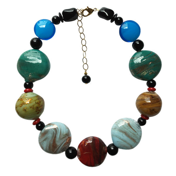 Multi Color with Red Accent Murano Glass Necklace - Real Chic Boutique  - 1