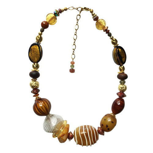 Murano Glass Necklace with Gold earth  tones - Real Chic Boutique  - 1